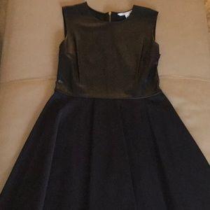 NWOT DVF leather & knit sleeveless dress zipper